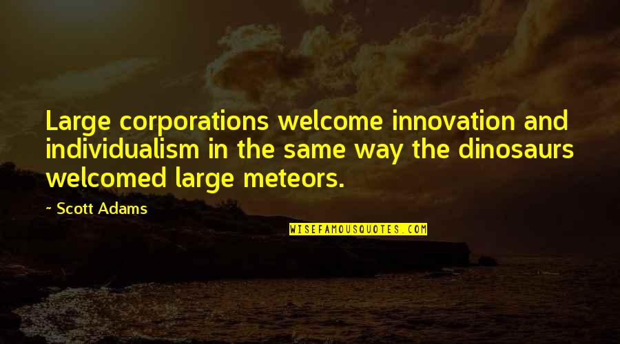 Individualism Quotes By Scott Adams: Large corporations welcome innovation and individualism in the