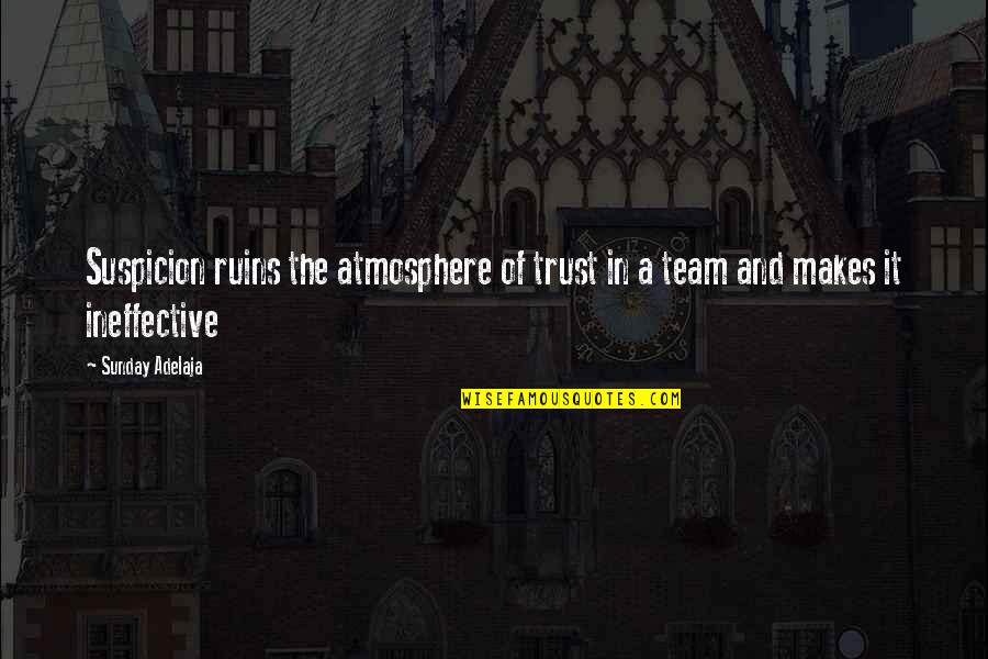 Ineffective Team Quotes By Sunday Adelaja: Suspicion ruins the atmosphere of trust in a