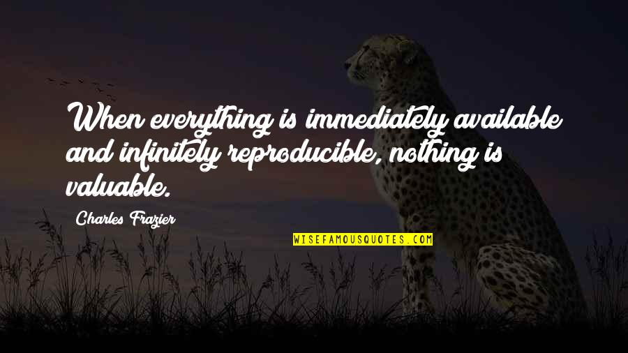 Infinitely Quotes By Charles Frazier: When everything is immediately available and infinitely reproducible,