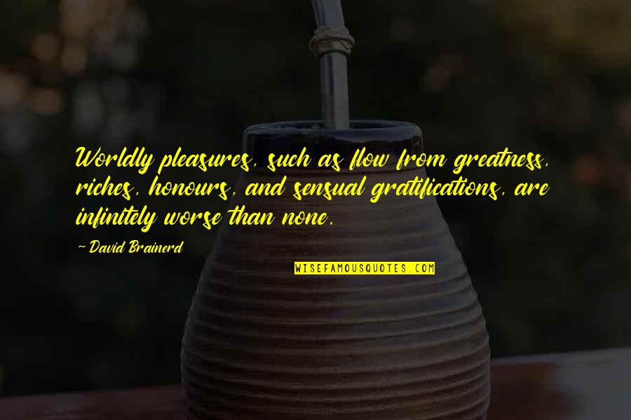 Infinitely Quotes By David Brainerd: Worldly pleasures, such as flow from greatness, riches,