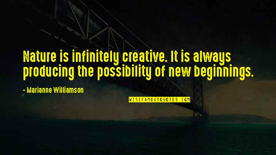 Infinitely Quotes By Marianne Williamson: Nature is infinitely creative. It is always producing