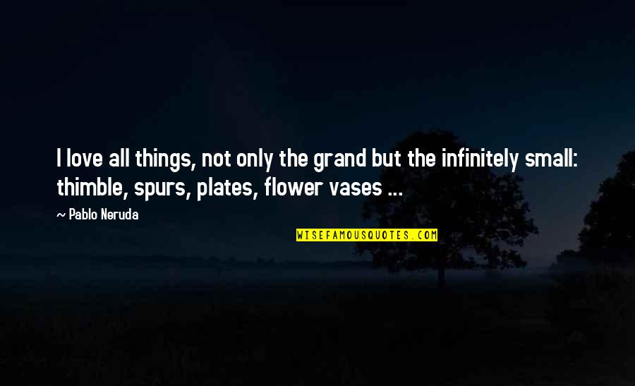 Infinitely Quotes By Pablo Neruda: I love all things, not only the grand