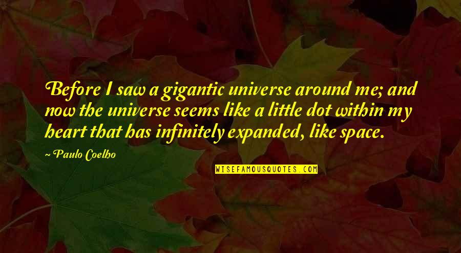 Infinitely Quotes By Paulo Coelho: Before I saw a gigantic universe around me;