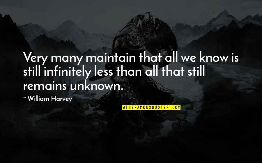 Infinitely Quotes By William Harvey: Very many maintain that all we know is