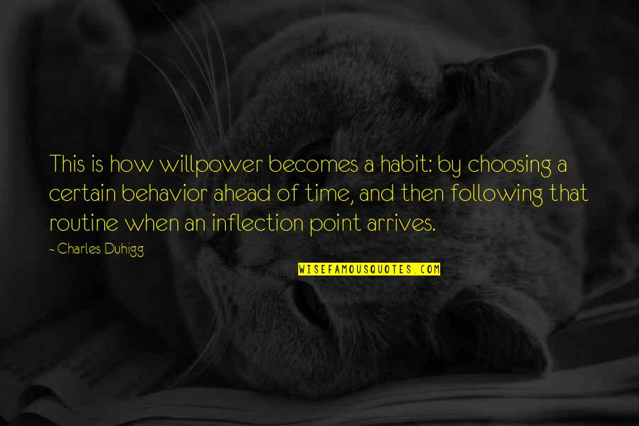 Inflection Quotes By Charles Duhigg: This is how willpower becomes a habit: by