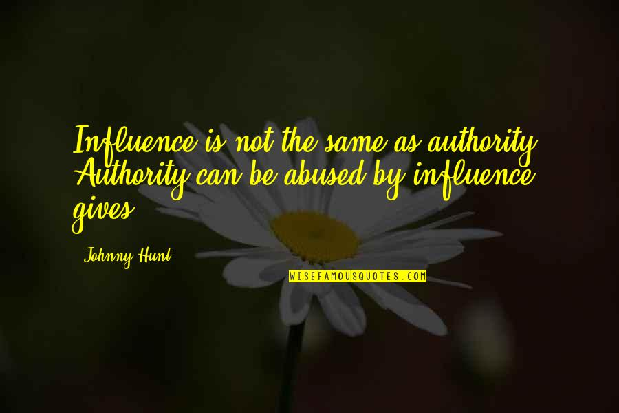 Influence And Leadership Quotes By Johnny Hunt: Influence is not the same as authority. Authority