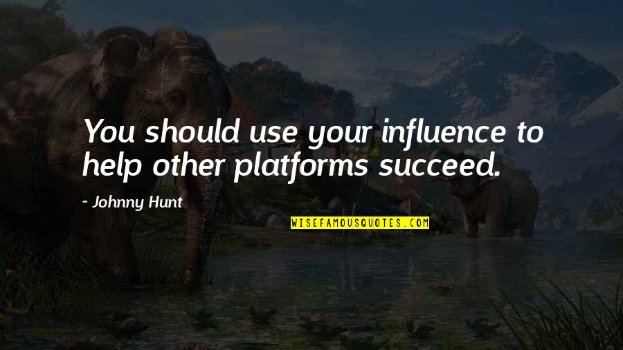 Influence And Leadership Quotes By Johnny Hunt: You should use your influence to help other