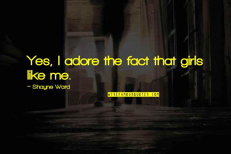 Information Technology Inspirational Quotes By Shayne Ward: Yes, I adore the fact that girls like