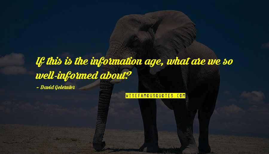 Informed Quotes By David Gelernter: If this is the information age, what are