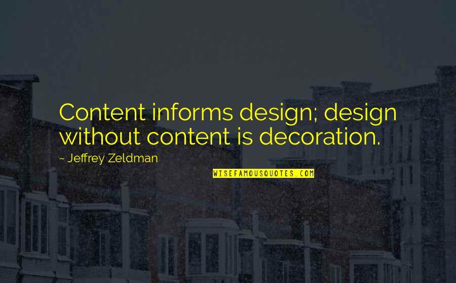 Informs Quotes By Jeffrey Zeldman: Content informs design; design without content is decoration.