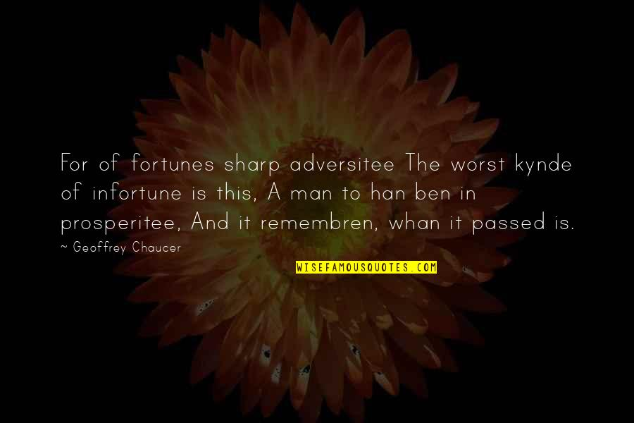 Infortune Quotes By Geoffrey Chaucer: For of fortunes sharp adversitee The worst kynde