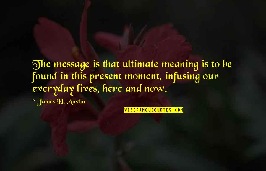 Infusing Quotes By James H. Austin: The message is that ultimate meaning is to