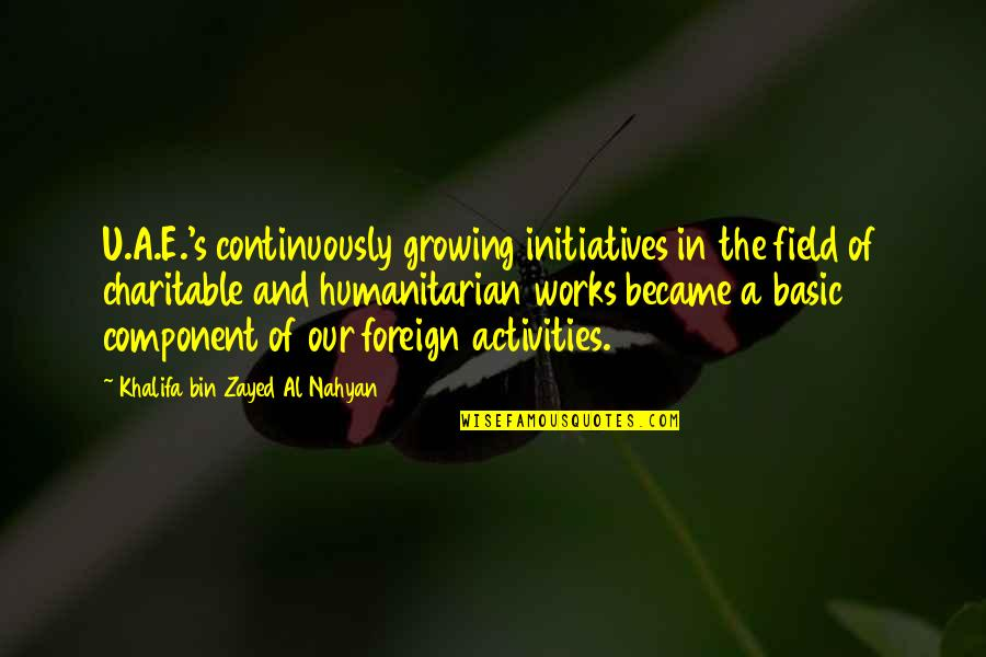Initiatives Quotes By Khalifa Bin Zayed Al Nahyan: U.A.E.'s continuously growing initiatives in the field of