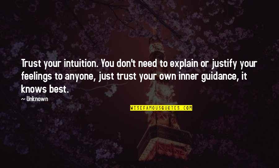 Inner Feelings Quotes By Unknown: Trust your intuition. You don't need to explain
