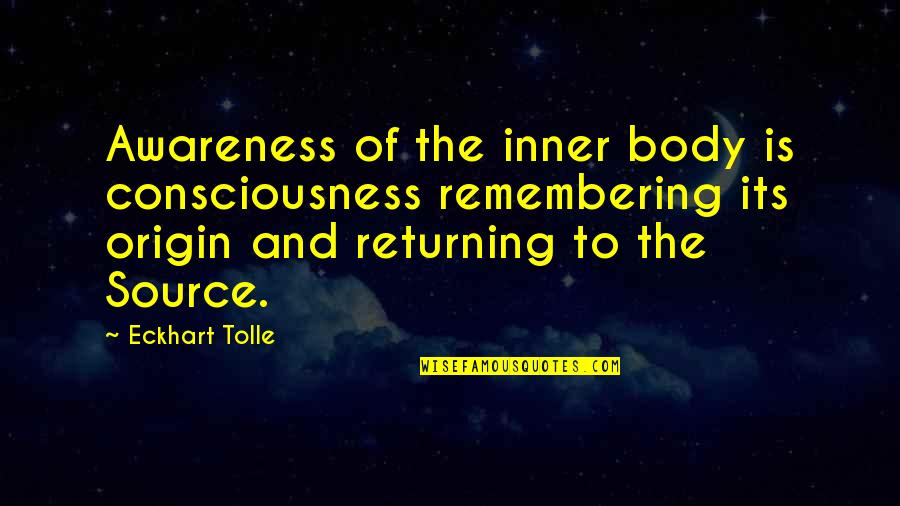 Inner Source Quotes By Eckhart Tolle: Awareness of the inner body is consciousness remembering