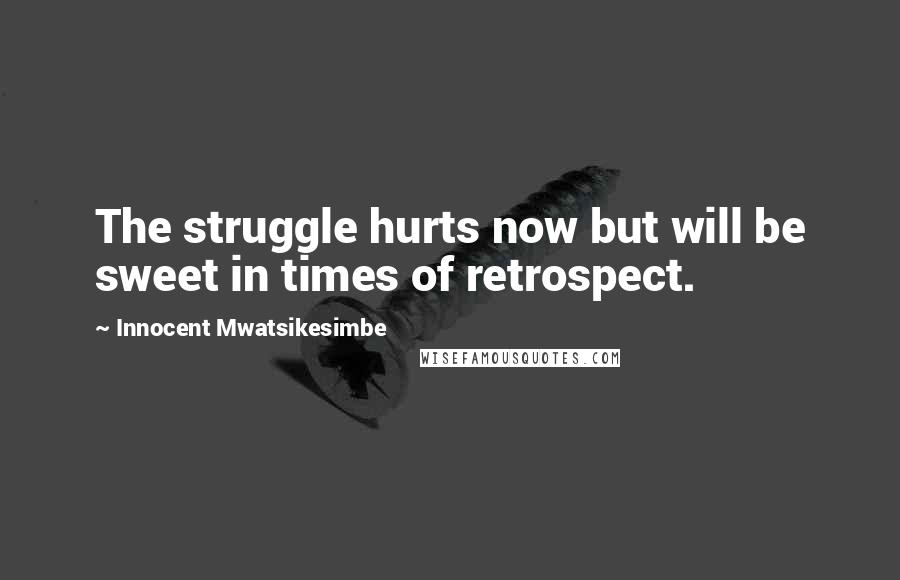 Innocent Mwatsikesimbe quotes: The struggle hurts now but will be sweet in times of retrospect.