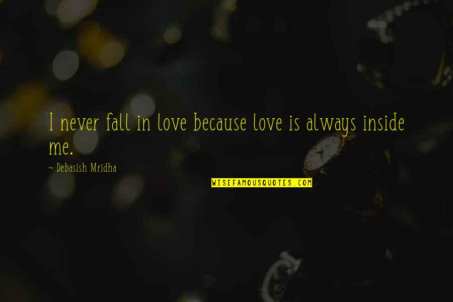Inside Happiness Quotes By Debasish Mridha: I never fall in love because love is
