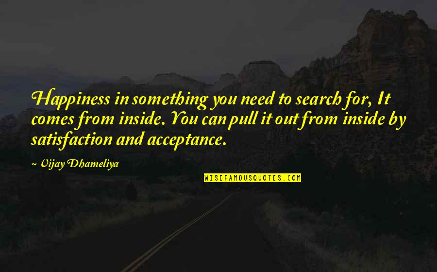 Inside Happiness Quotes By Vijay Dhameliya: Happiness in something you need to search for,