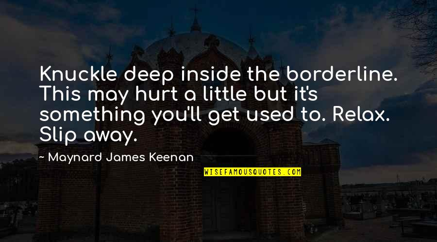 Inside Hurt Quotes By Maynard James Keenan: Knuckle deep inside the borderline. This may hurt