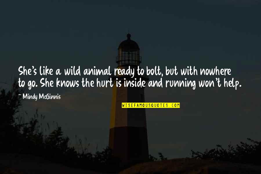 Inside Hurt Quotes By Mindy McGinnis: She's like a wild animal ready to bolt,