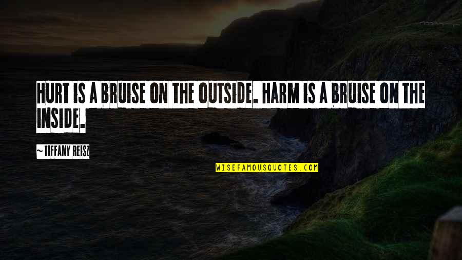 Inside Hurt Quotes By Tiffany Reisz: Hurt is a bruise on the outside. Harm