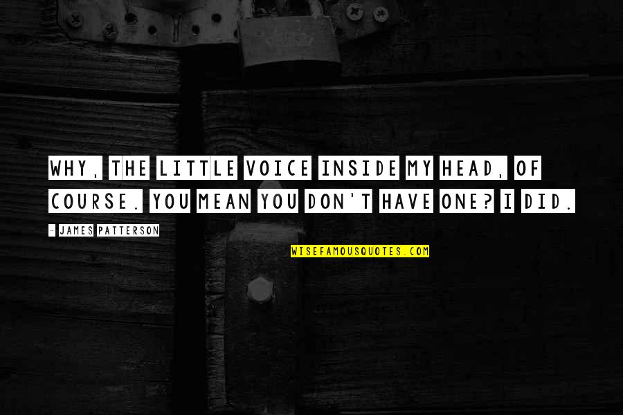Inside Voice Quotes By James Patterson: Why, the little Voice inside my head, of