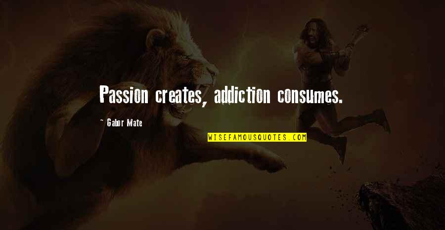 Inspirational Addiction Quotes By Gabor Mate: Passion creates, addiction consumes.