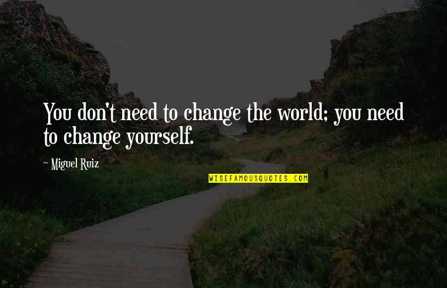 Inspirational Age Quotes By Miguel Ruiz: You don't need to change the world; you