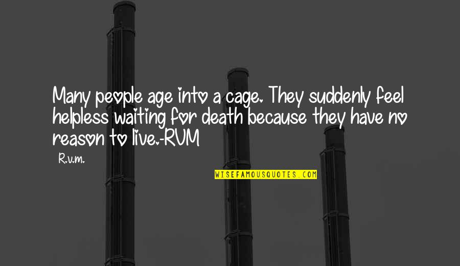 Inspirational Age Quotes By R.v.m.: Many people age into a cage. They suddenly