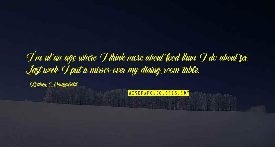 Inspirational Age Quotes By Rodney Dangerfield: I'm at an age where I think more