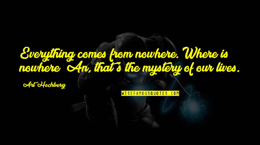 Inspirational Art Quotes By Art Hochberg: Everything comes from nowhere. Where is nowhere? An,