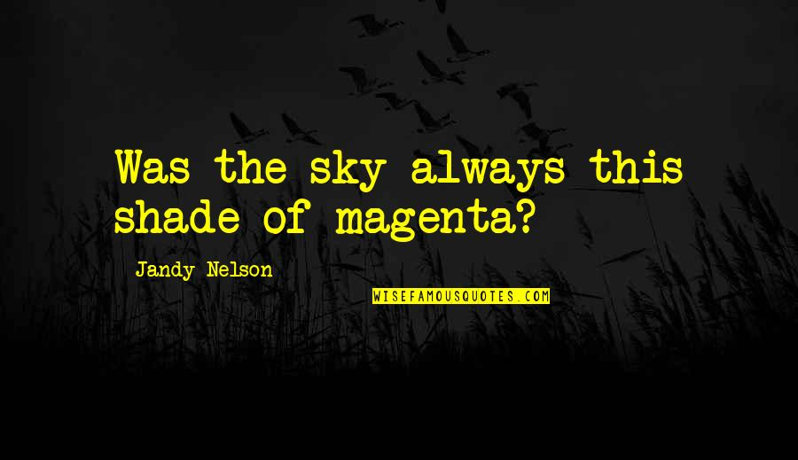 Inspirational Art Quotes By Jandy Nelson: Was the sky always this shade of magenta?