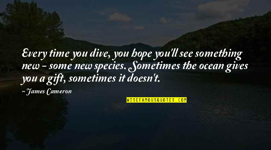 Inspirational Duathlon Quotes By James Cameron: Every time you dive, you hope you'll see