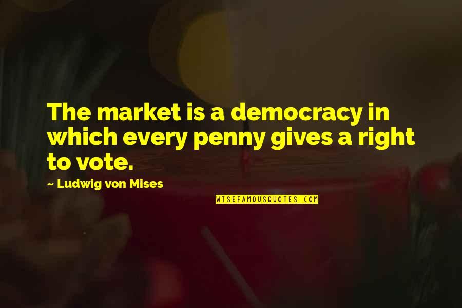 Inspirational Dusk Quotes By Ludwig Von Mises: The market is a democracy in which every