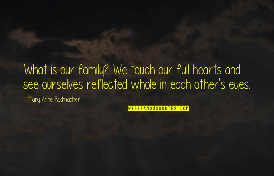 Inspirational Haiti Quotes By Mary Anne Radmacher: What is our family? We touch our full