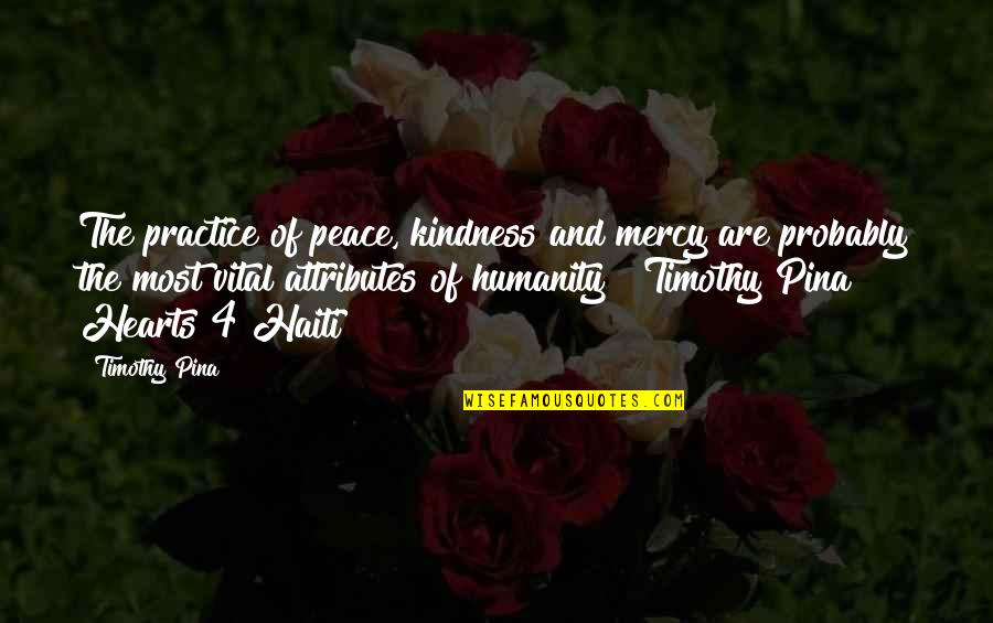 Inspirational Haiti Quotes By Timothy Pina: The practice of peace, kindness and mercy are