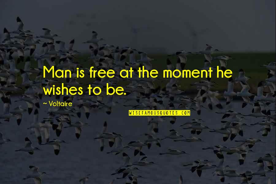 Inspirational Hockey Team Quotes By Voltaire: Man is free at the moment he wishes
