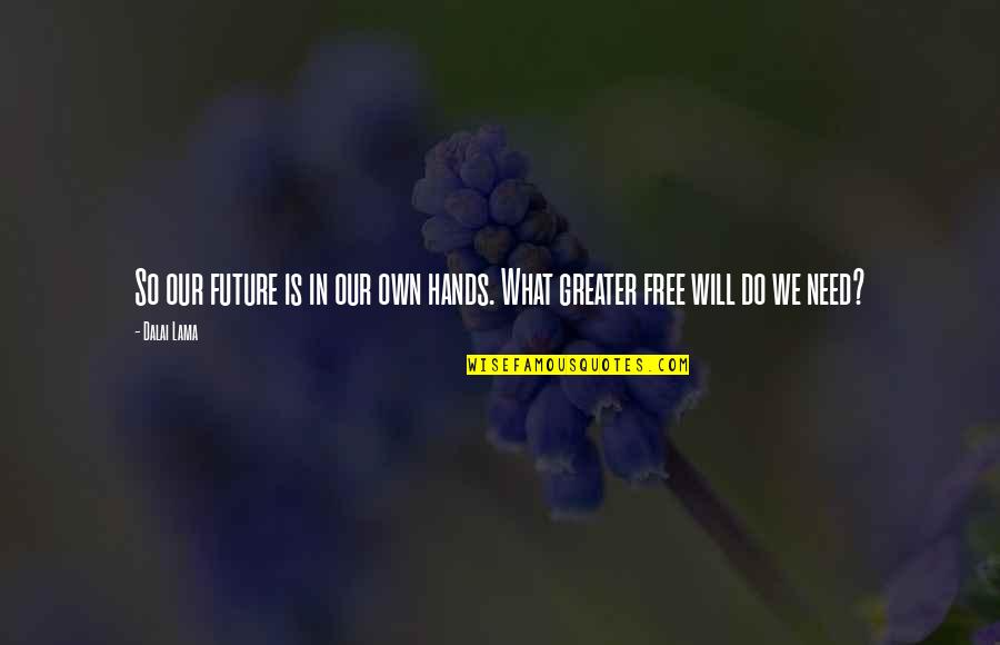 Inspirational Hypnosis Quotes By Dalai Lama: So our future is in our own hands.