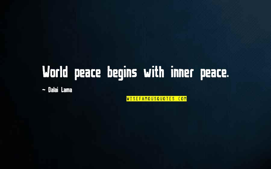 Inspirational Lama Quotes By Dalai Lama: World peace begins with inner peace.