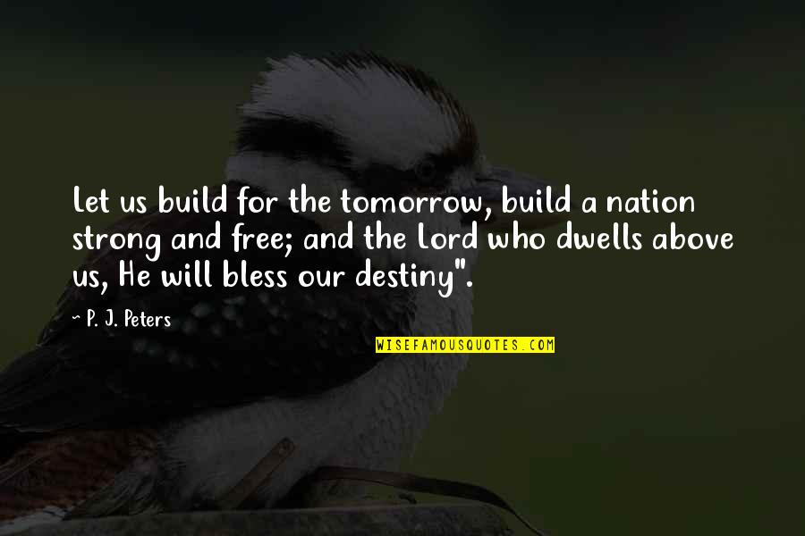 Inspirational Non Religious Quotes By P. J. Peters: Let us build for the tomorrow, build a