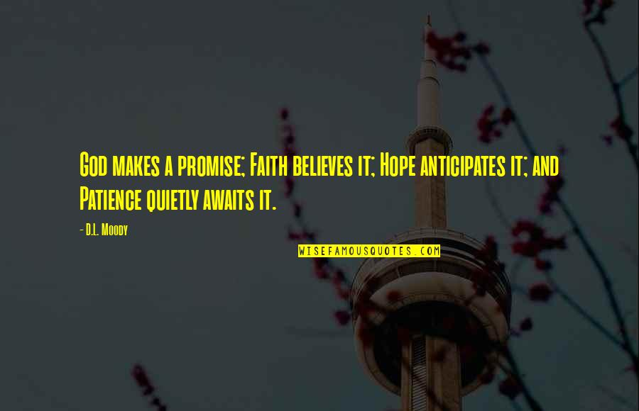 Inspirational Romanian Quotes By D.L. Moody: God makes a promise; Faith believes it; Hope