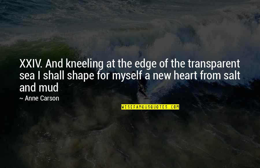 Inspirational Sea Quotes By Anne Carson: XXIV. And kneeling at the edge of the
