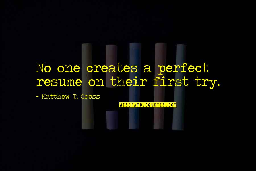 Inspirational Try Hard Quotes By Matthew T. Cross: No one creates a perfect resume on their