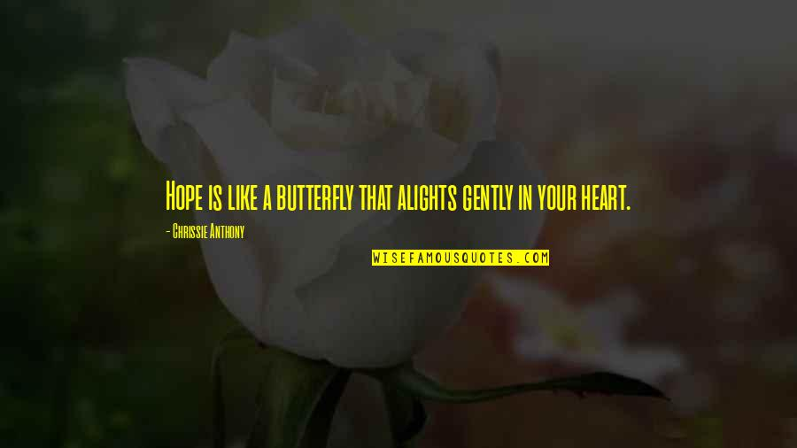Inspirational We Heart It Quotes By Chrissie Anthony: Hope is like a butterfly that alights gently