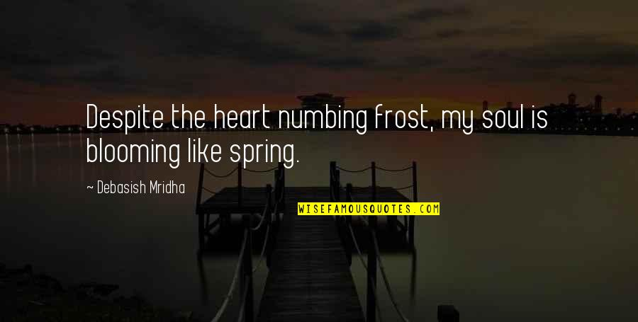 Inspirational We Heart It Quotes By Debasish Mridha: Despite the heart numbing frost, my soul is