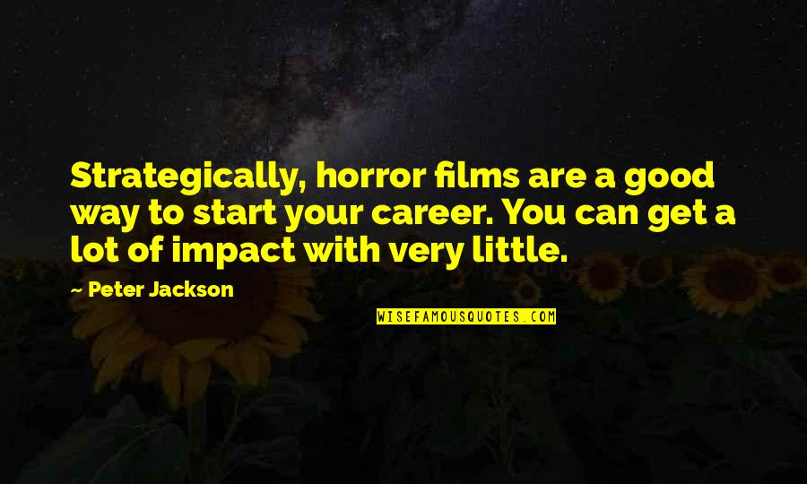 Inspirationation Quotes By Peter Jackson: Strategically, horror films are a good way to