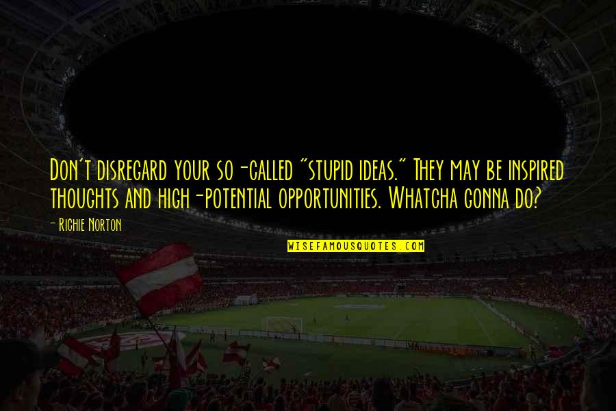 """Inspired To Work Quotes By Richie Norton: Don't disregard your so-called """"stupid ideas."""" They may"""