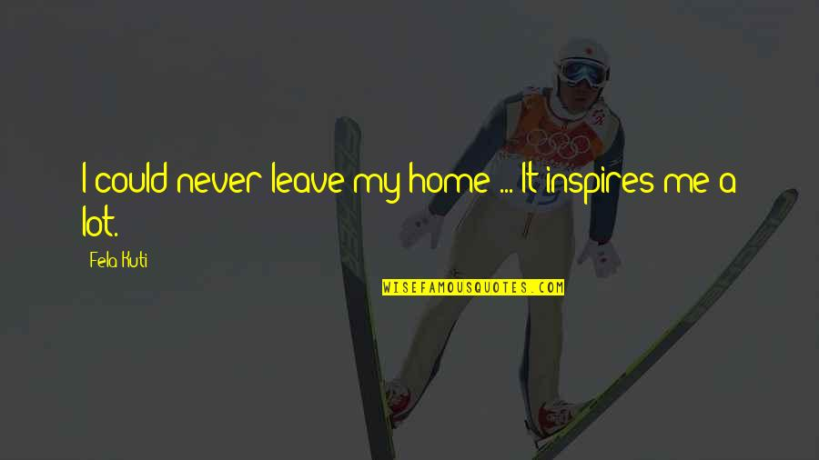 Inspires Me Quotes By Fela Kuti: I could never leave my home ... It