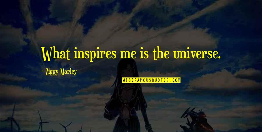 Inspires Me Quotes By Ziggy Marley: What inspires me is the universe.