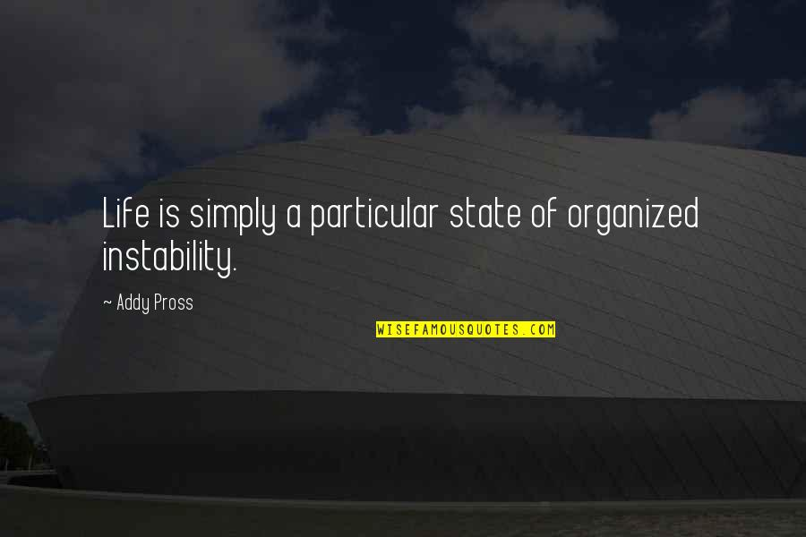 Instability Quotes By Addy Pross: Life is simply a particular state of organized